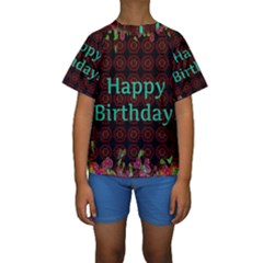 Happy Birthday To You! Kids  Short Sleeve Swimwear