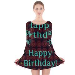 Happy Birthday To You! Long Sleeve Velvet Skater Dress