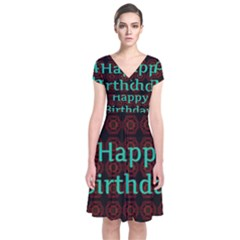 Happy Birthday To You! Short Sleeve Front Wrap Dress
