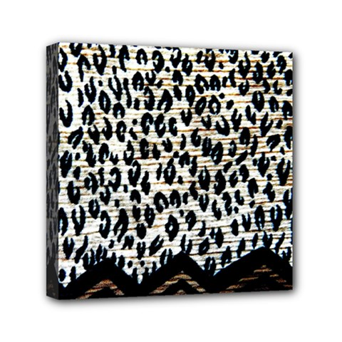 Tiger Background Fabric Animal Motifs Mini Canvas 6  x 6