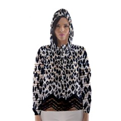 Tiger Background Fabric Animal Motifs Hooded Wind Breaker (women)