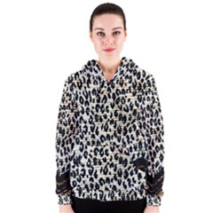 Tiger Background Fabric Animal Motifs Women s Zipper Hoodie