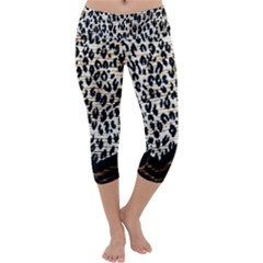 Tiger Background Fabric Animal Motifs Capri Yoga Leggings