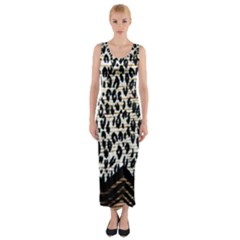 Tiger Background Fabric Animal Motifs Fitted Maxi Dress