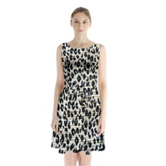 Tiger Background Fabric Animal Motifs Sleeveless Chiffon Waist Tie Dress