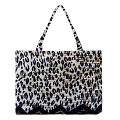 Tiger Background Fabric Animal Motifs Medium Tote Bag