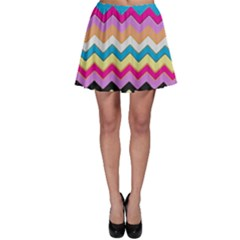 Chevrons Pattern Art Background Skater Skirt