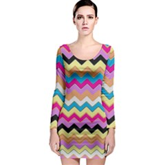 Chevrons Pattern Art Background Long Sleeve Bodycon Dress