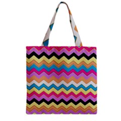 Chevrons Pattern Art Background Zipper Grocery Tote Bag