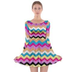 Chevrons Pattern Art Background Long Sleeve Skater Dress