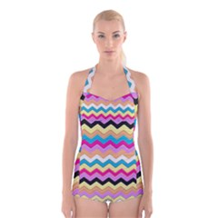 Chevrons Pattern Art Background Boyleg Halter Swimsuit