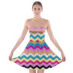 Chevrons Pattern Art Background Strapless Bra Top Dress