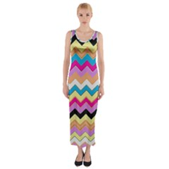 Chevrons Pattern Art Background Fitted Maxi Dress