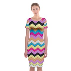 Chevrons Pattern Art Background Classic Short Sleeve Midi Dress