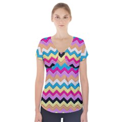Chevrons Pattern Art Background Short Sleeve Front Detail Top