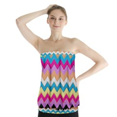 Chevrons Pattern Art Background Strapless Top