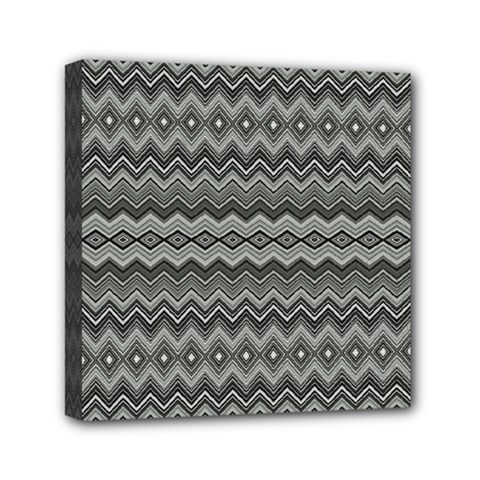 Greyscale Zig Zag Mini Canvas 6  X 6