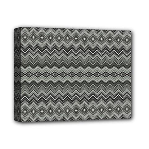 Greyscale Zig Zag Deluxe Canvas 14  X 11