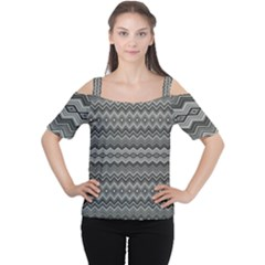 Greyscale Zig Zag Women s Cutout Shoulder Tee