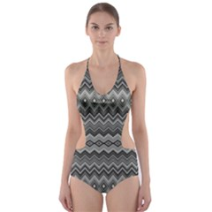 Greyscale Zig Zag Cut Out One Piece Swimsuit