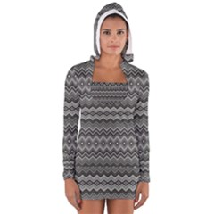 Greyscale Zig Zag Women s Long Sleeve Hooded T Shirt
