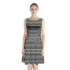 Greyscale Zig Zag Sleeveless Chiffon Waist Tie Dress