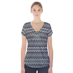 Greyscale Zig Zag Short Sleeve Front Detail Top