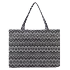 Greyscale Zig Zag Medium Zipper Tote Bag