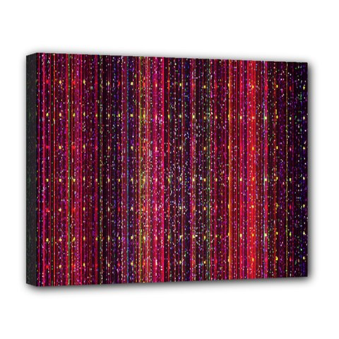 Colorful And Glowing Pixelated Pixel Pattern Canvas 14  x 11