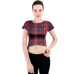 Colorful And Glowing Pixelated Pixel Pattern Crew Neck Crop Top