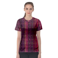 Colorful And Glowing Pixelated Pixel Pattern Women s Sport Mesh Tee