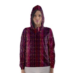Colorful And Glowing Pixelated Pixel Pattern Hooded Wind Breaker (women)