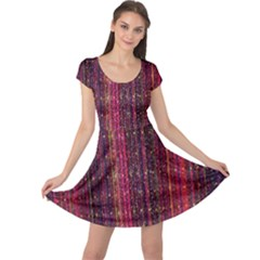 Colorful And Glowing Pixelated Pixel Pattern Cap Sleeve Dresses