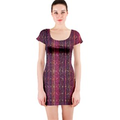 Colorful And Glowing Pixelated Pixel Pattern Short Sleeve Bodycon Dress