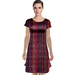 Colorful And Glowing Pixelated Pixel Pattern Cap Sleeve Nightdress