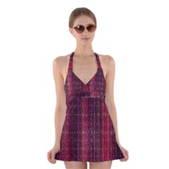 Colorful And Glowing Pixelated Pixel Pattern Halter Swimsuit Dress