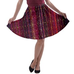 Colorful And Glowing Pixelated Pixel Pattern A-line Skater Skirt