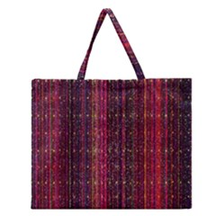 Colorful And Glowing Pixelated Pixel Pattern Zipper Large Tote Bag