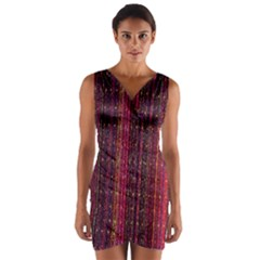 Colorful And Glowing Pixelated Pixel Pattern Wrap Front Bodycon Dress