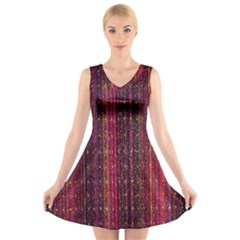 Colorful And Glowing Pixelated Pixel Pattern V-Neck Sleeveless Skater Dress