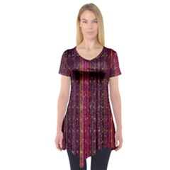 Colorful And Glowing Pixelated Pixel Pattern Short Sleeve Tunic