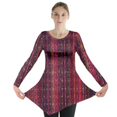 Colorful And Glowing Pixelated Pixel Pattern Long Sleeve Tunic