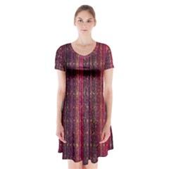 Colorful And Glowing Pixelated Pixel Pattern Short Sleeve V Neck Flare Dress