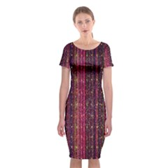 Colorful And Glowing Pixelated Pixel Pattern Classic Short Sleeve Midi Dress