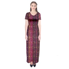 Colorful And Glowing Pixelated Pixel Pattern Short Sleeve Maxi Dress