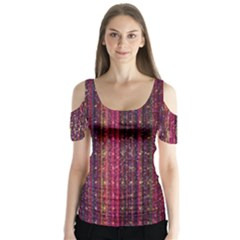 Colorful And Glowing Pixelated Pixel Pattern Butterfly Sleeve Cutout Tee
