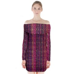 Colorful And Glowing Pixelated Pixel Pattern Long Sleeve Off Shoulder Dress