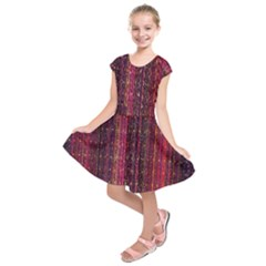 Colorful And Glowing Pixelated Pixel Pattern Kids  Short Sleeve Dress