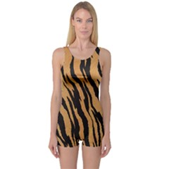 Tiger Animal Print A Completely Seamless Tile Able Background Design Pattern One Piece Boyleg Swimsuit