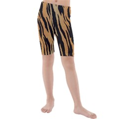 Tiger Animal Print A Completely Seamless Tile Able Background Design Pattern Kids  Mid Length Swim Shorts